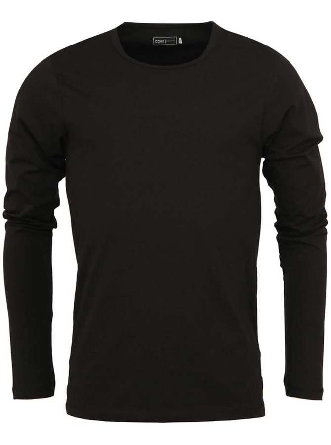 Čierne jednoduché tričko s dlhým rukávom Jack & Jones Basic