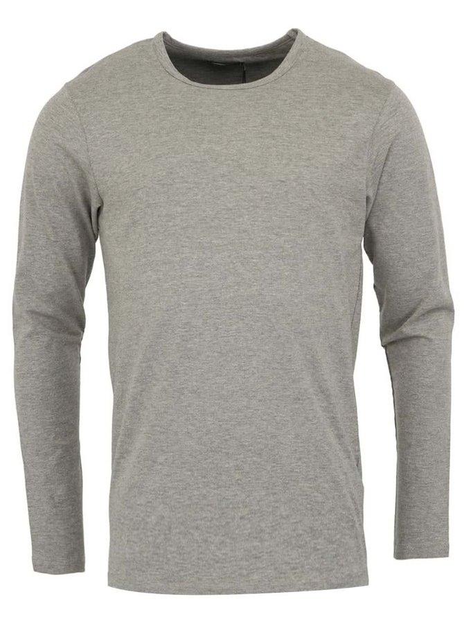 Sivé jednoduché tričko s dlhým rukávom Jack & Jones Basic