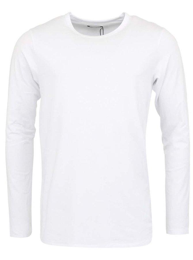 Bílé jednoduché triko s dlouhým rukávem Jack & Jones Basic