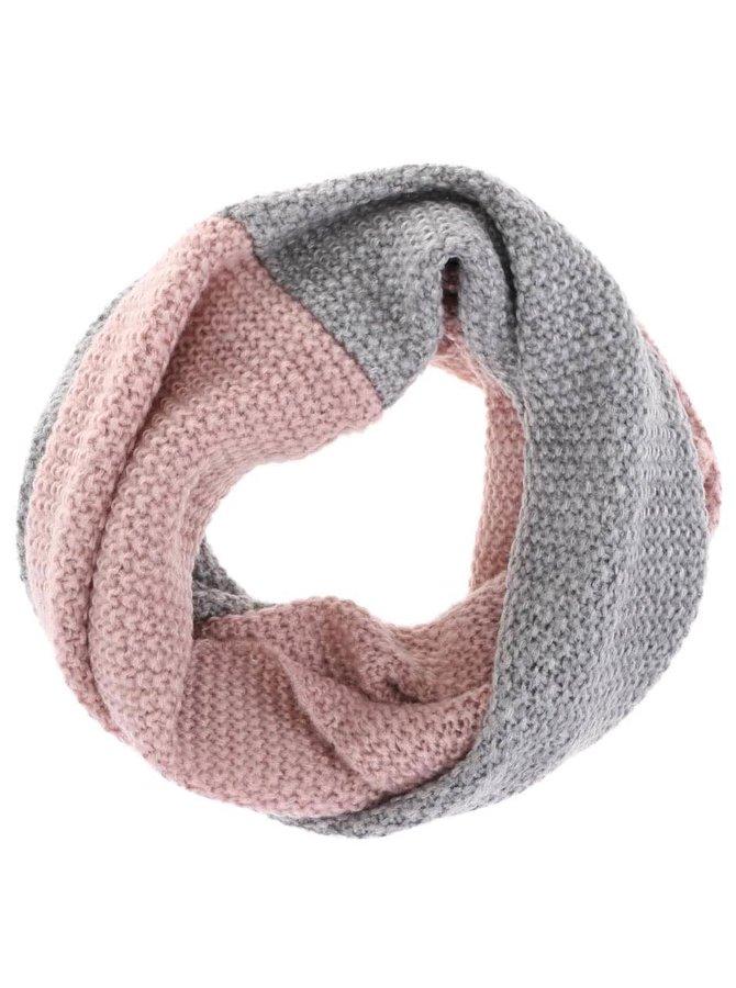 Růžovo-šedá dámská dutá šála s.Oliver