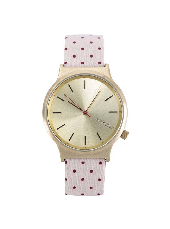 Dámské hodinky ve zlaté barvě s růžovým puntíkovaným páskem Komono Wizard Print
