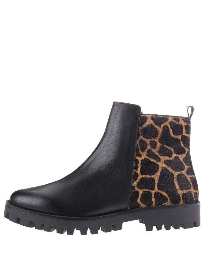 Ghete de damă din piele cu imprimeu tip leopard s.Oliver - Negru