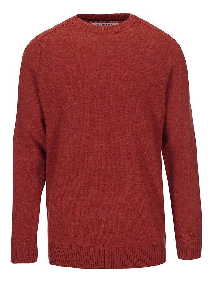 Oranžový vlněný svetr Ben Sherman