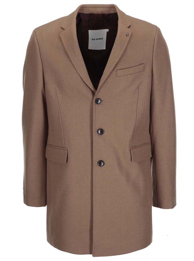 Svetlohnedý dlhší vlnený kabát Ben Sherman
