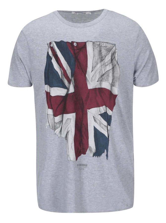 Tricou de la Ben Sherman, cu steagul Marii Britanii - gri