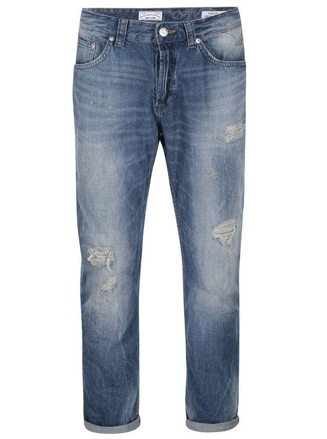 Modré džíny s potrhaným efektem ONLY & SONS Dips