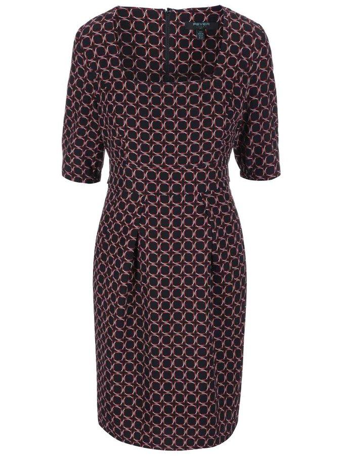 Čierne vzorované šaty s obdĺžnikovým výstrihom Fever London Marseille