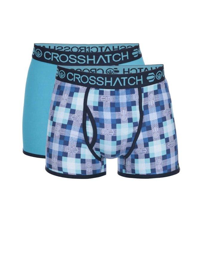 Boxeri albaștri cu imprimeu Crosshatch Draughts - pachet două perechi