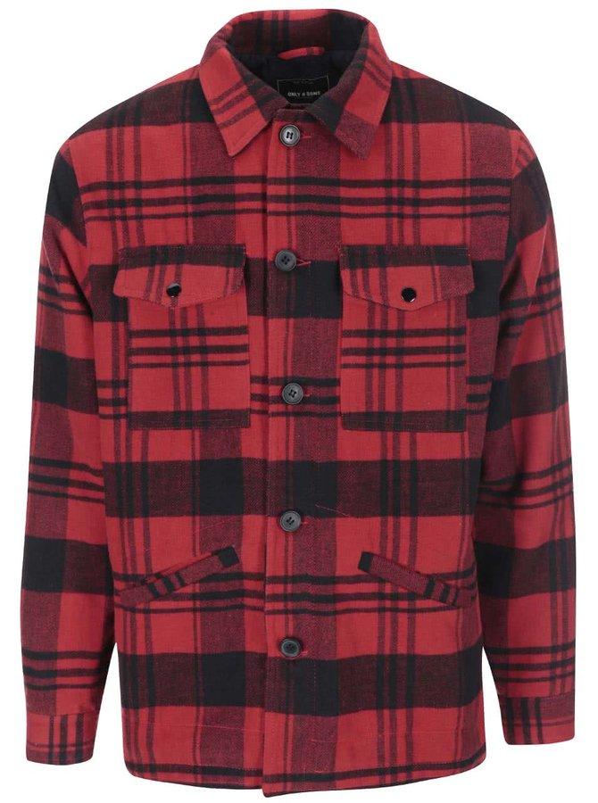 Jachetă roșie cadrilată ONLY & SONS Gara