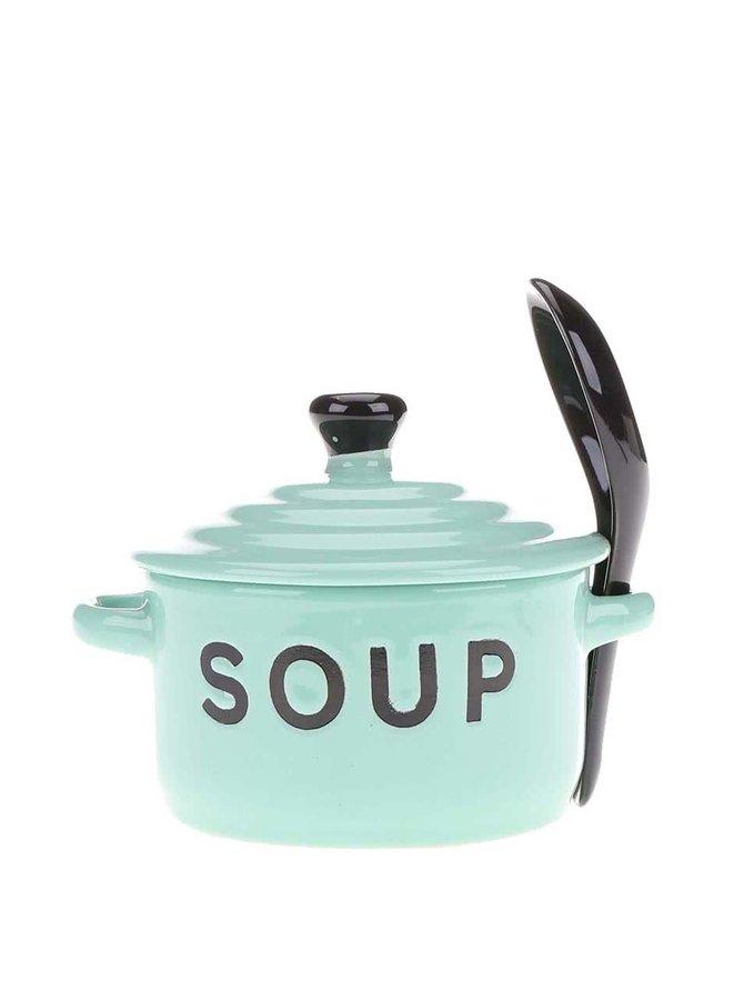 Světle zelená miska na polévku s pokličkou a lžící CGB