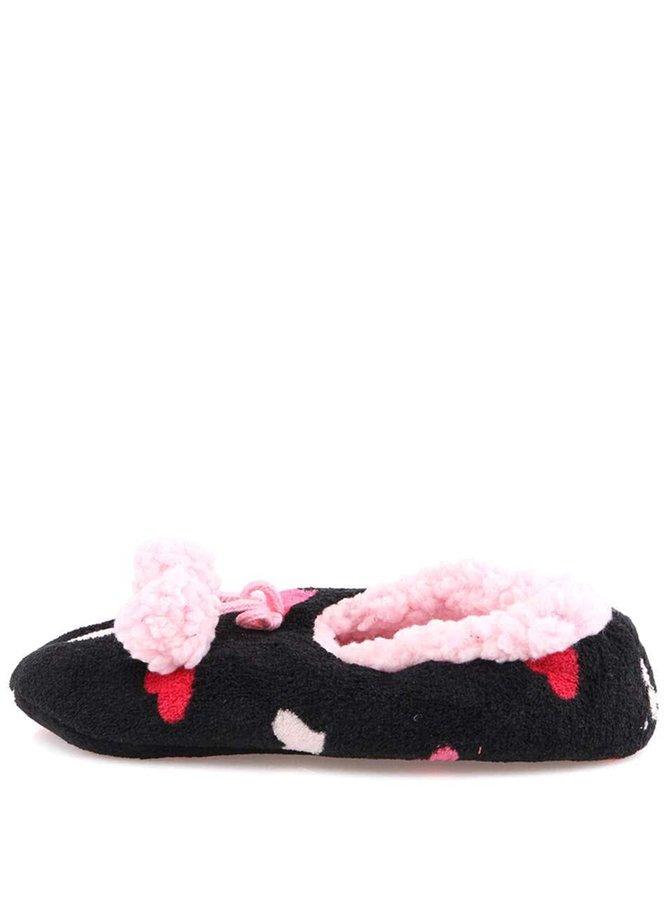 Papuci de casă negri cu inimioare roz Something Special by Moon