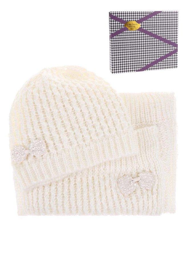 Krémová súprava čiapky a šálu s ozdobným motýlikom Something Special by Moon