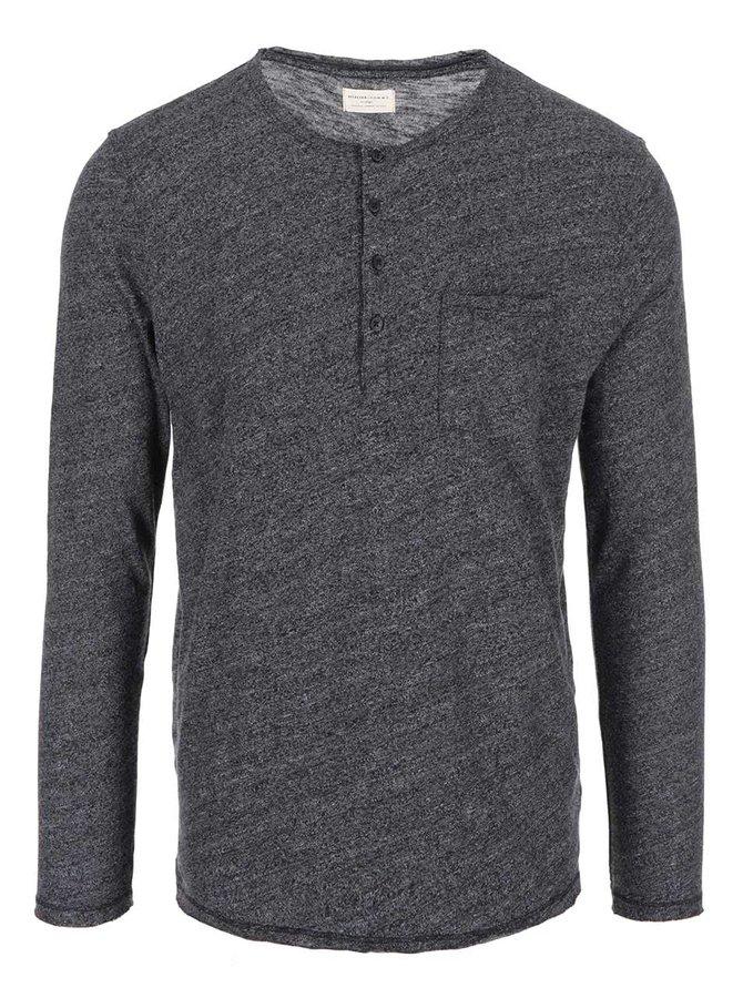 Tricou negru cu mâneci lungi Selected Andro