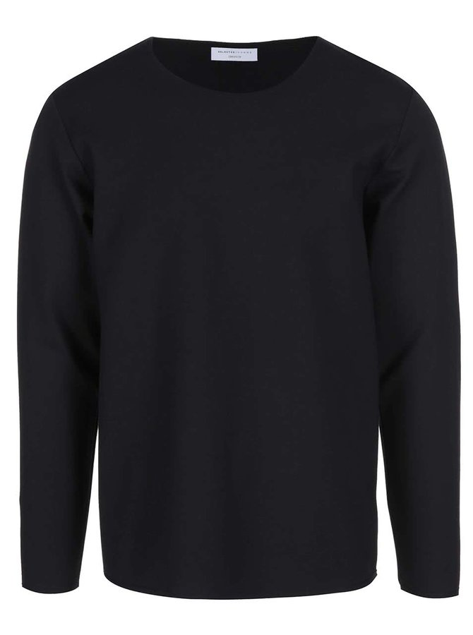 Černé triko s dlouhým rukávem Selected Homme Tanner