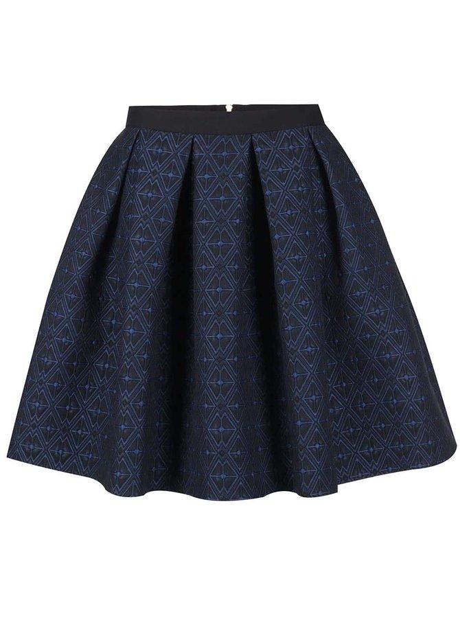 Tmavomodrá vzorovaná sukňa Closet