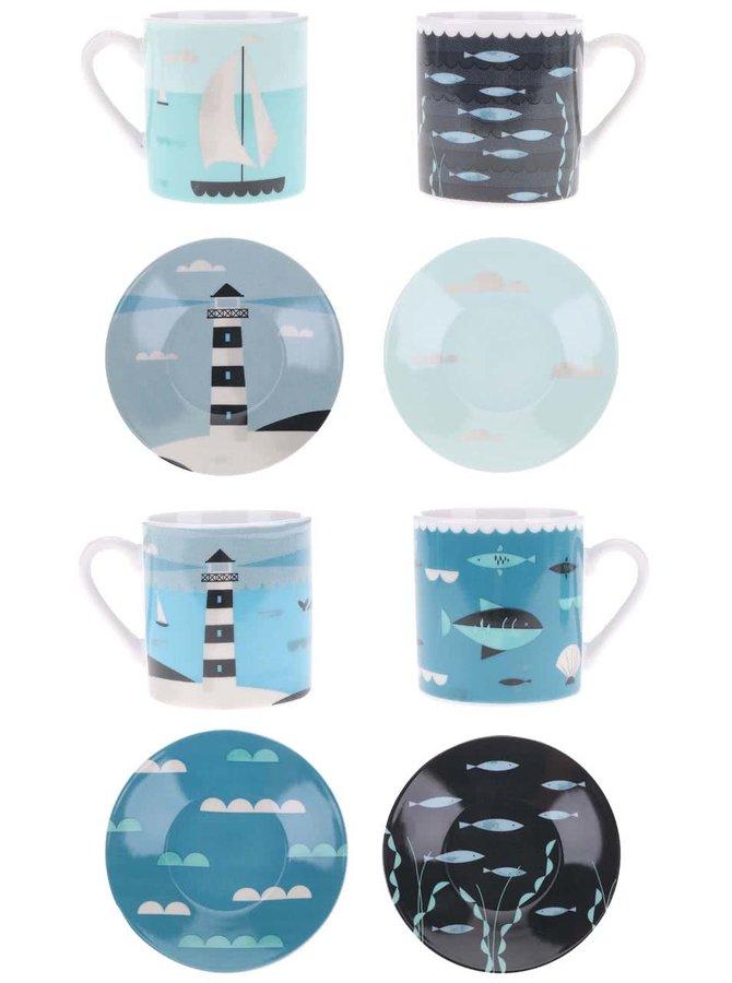Modro-černý set čtyř hrníčků a podšálků s barevným vzorem Magpie Ahoy! Espresso