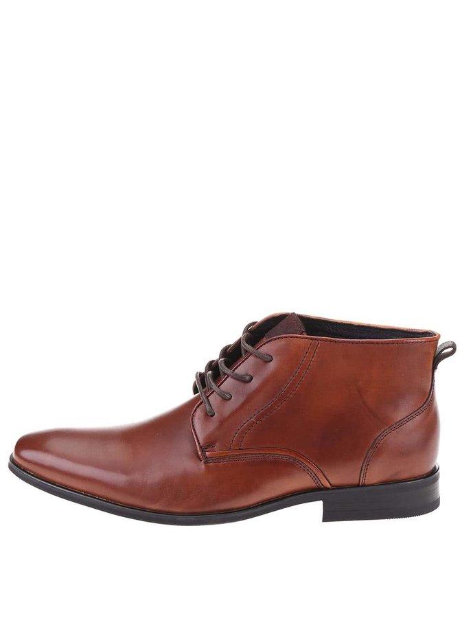 Hnedé kožené členkové topánky Dice Jackson