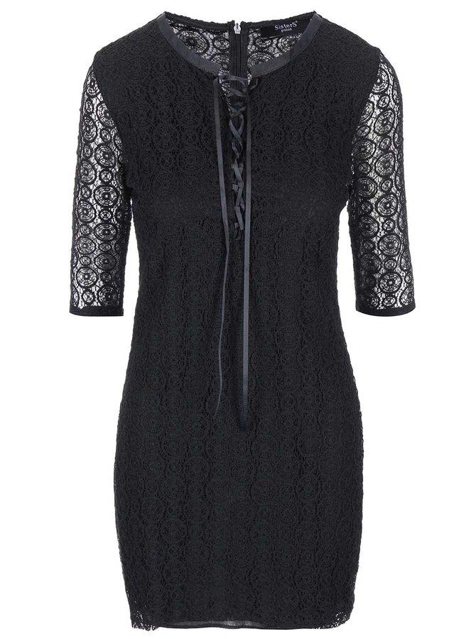 Čierne čipkované šaty s dlhým rukávom SisterS Point Ekon