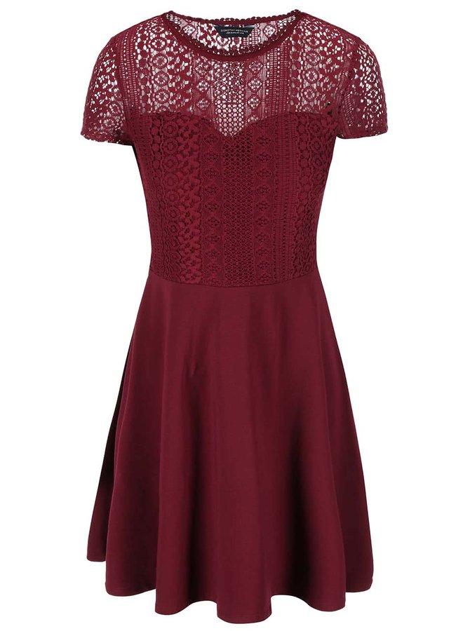 Vínové šaty s čipkovaným topom Dorothy Perkins
