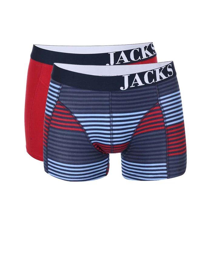 Set de două perechi de boxeri roșii și cu dungi JACKS