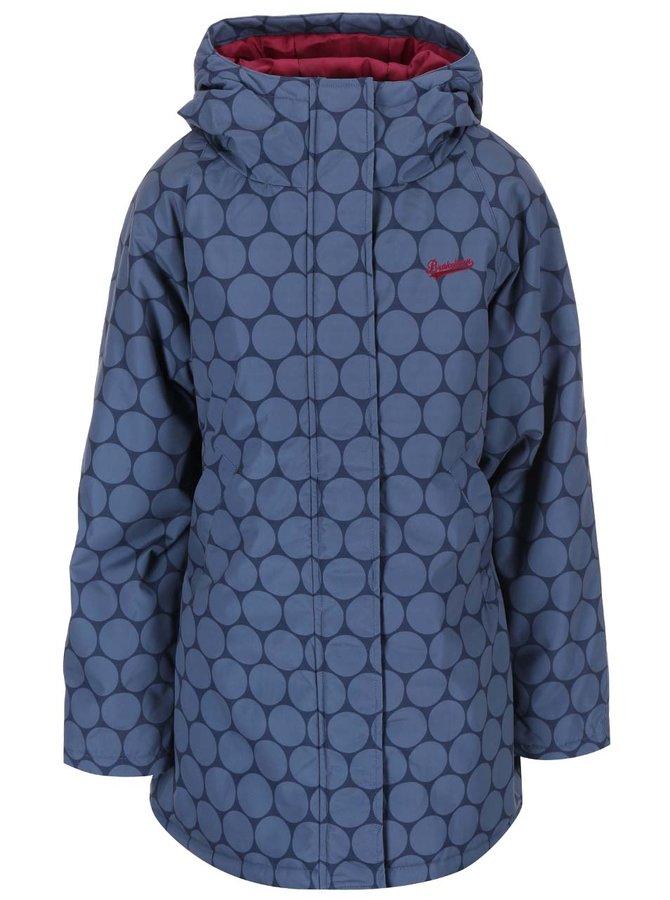 Jachetă impermeabilă bleu, lungă, cu glugă și imprimeu de cercuri bleumarin Brakeburn
