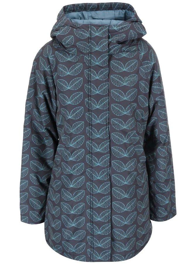Sivá nepremokavá dlhšia bunda so vzorom listov Brakeburn Leaf
