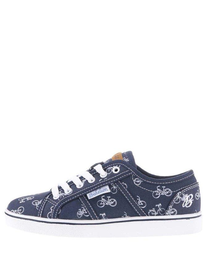 Pantofi sport albaștri Brakeburn Tennis cu imprimeu cu biciclete