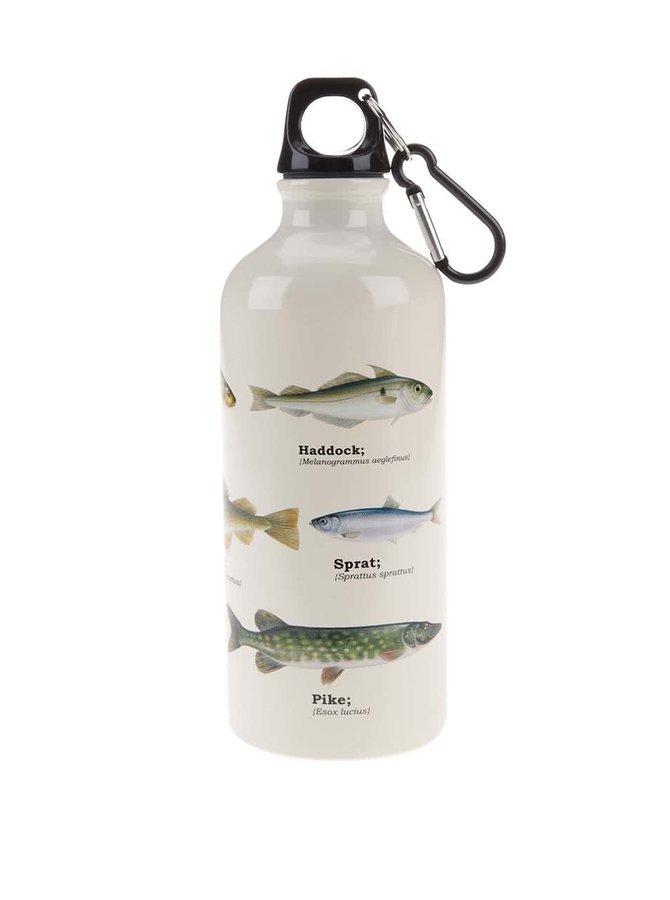 Sticlă de apă albă cu imprimeu cu pești Gift Republic
