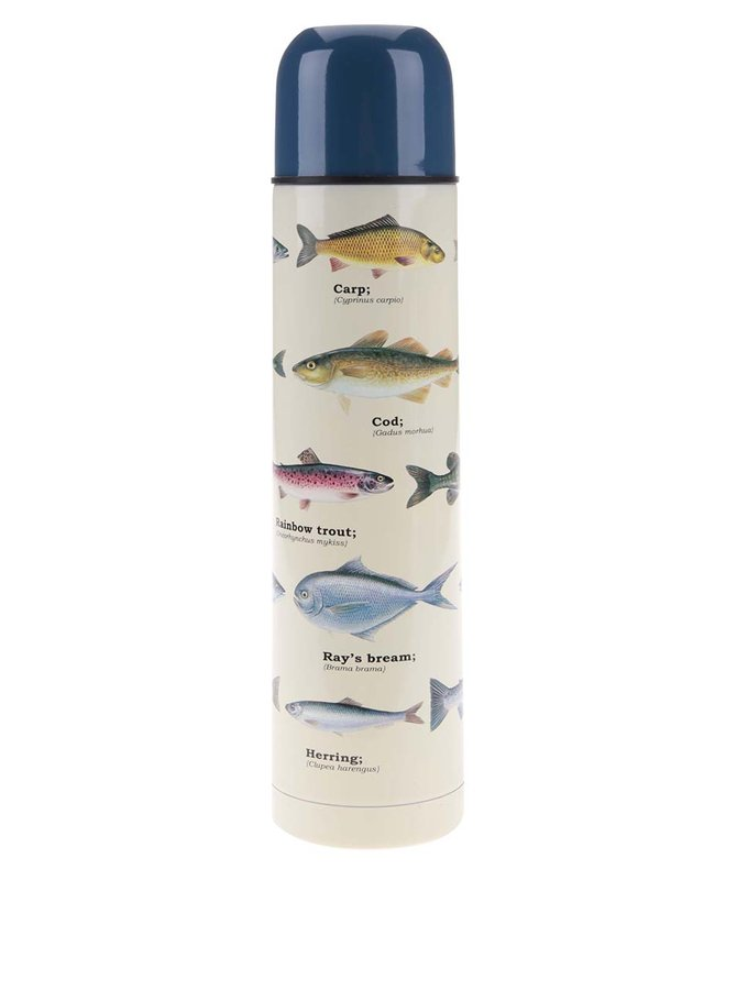 Termos alb cu imprimeu cu pești Gift Republic
