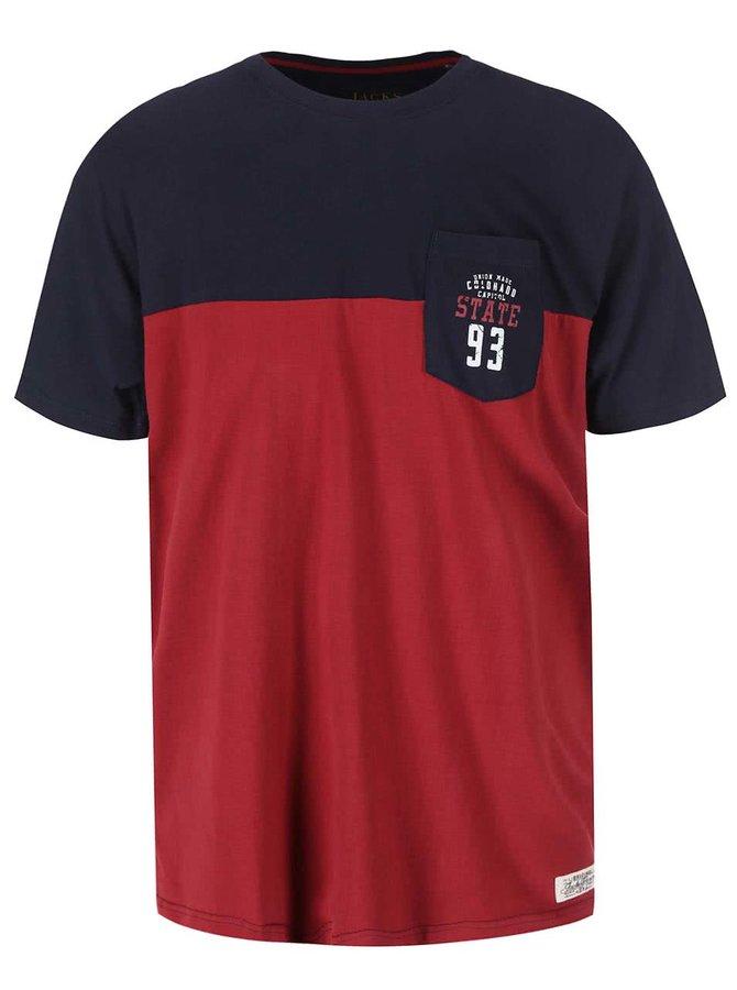 Tricou roșu-albastru cu buzunar la piept Jacks