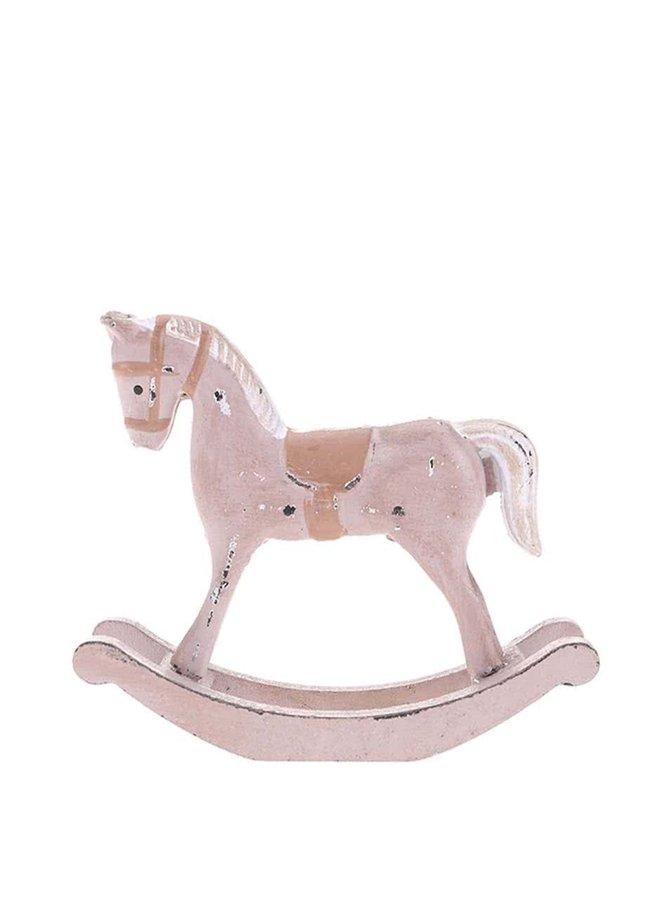 Béžový vintage drevený hojdací koník Dakls