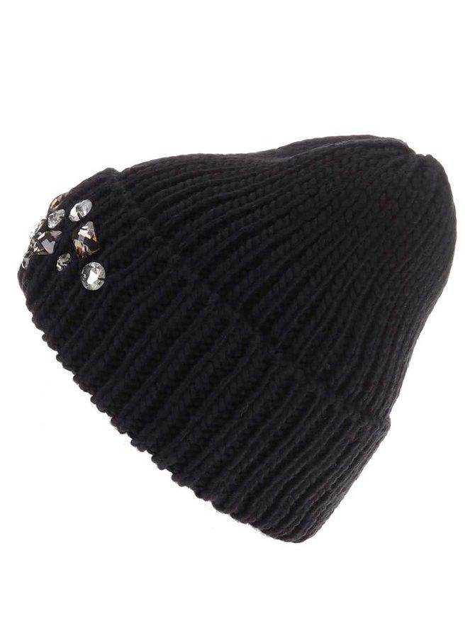 Čierna čiapka s kamienkami Pieces Vilasta