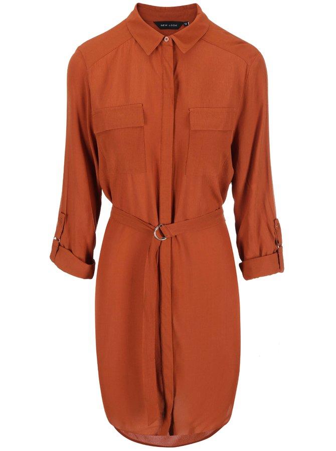Tehlové košeľové šaty s dlhým rukávom New Look