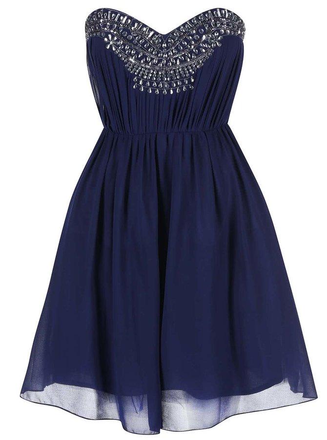 Rochie fără bretele cu decolteu decorat Little Mistress - Albastru