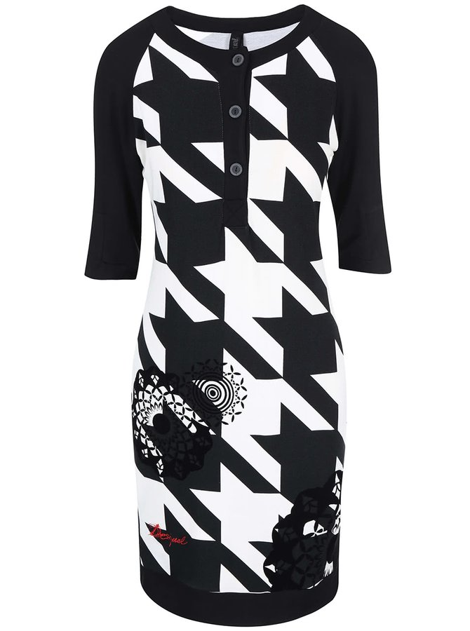 Černo-bílé šaty s kohoutí stopou Desigual Blas