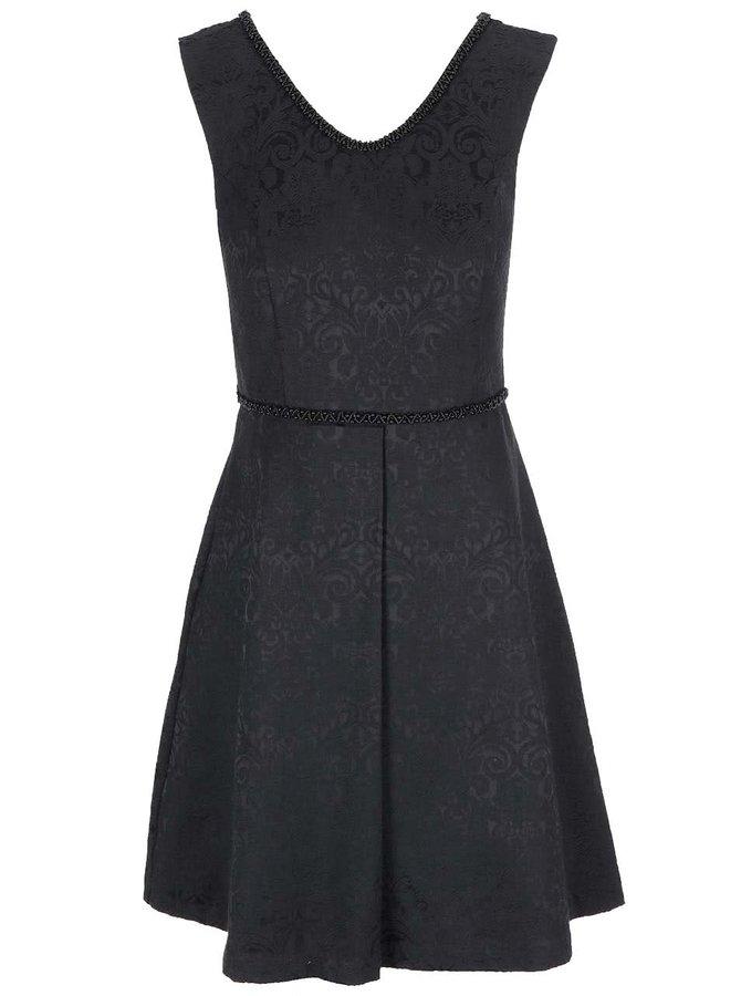 Černé vzorované šaty s širokou sukní Fever London