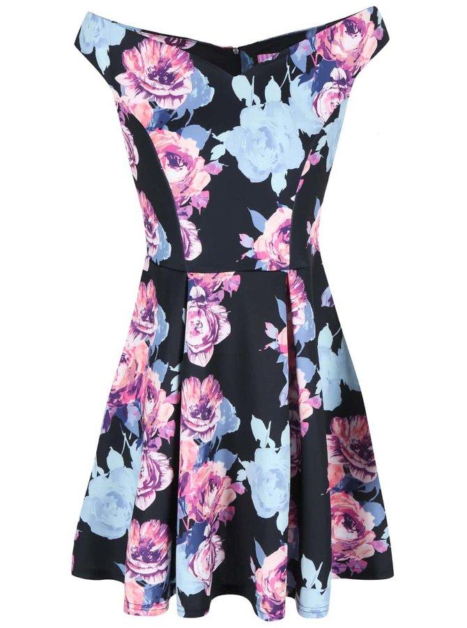 Modro-černé květinové šaty Lipstick Boutique Amelia
