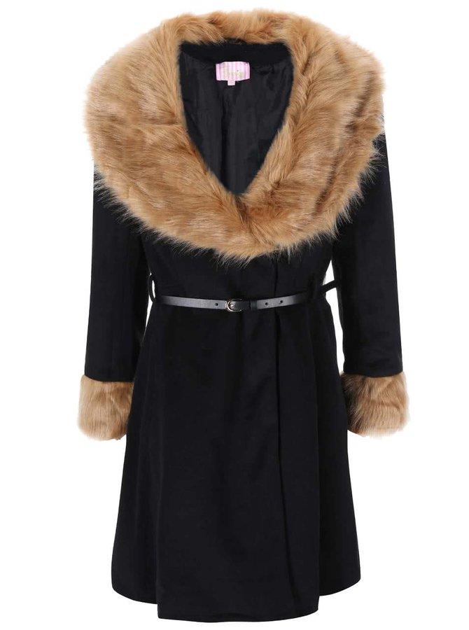 Haină neagră din blană, Camilla, de la Lipstick Boutique