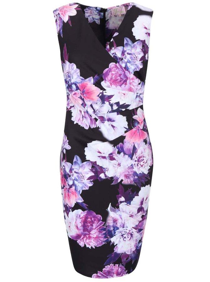 Fialovo-černé šaty s květinovým potiskem Lipstick Boutique Erin