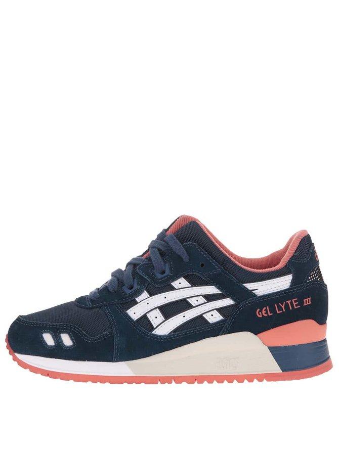 Pantofi sport unisex roz cu albastru și logo alb ASICS Gel Lyte III