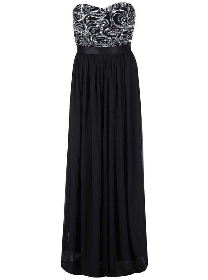 Rochie neagră cu parte superioară decorativă GODDIVA