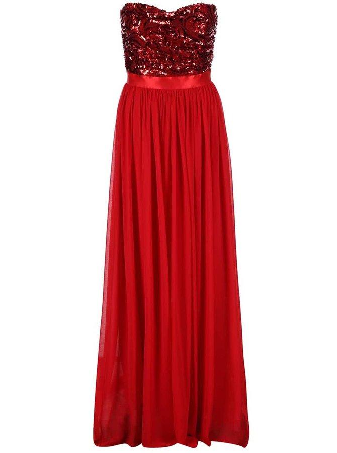 Červené šaty so zdobeným topom Goddiva