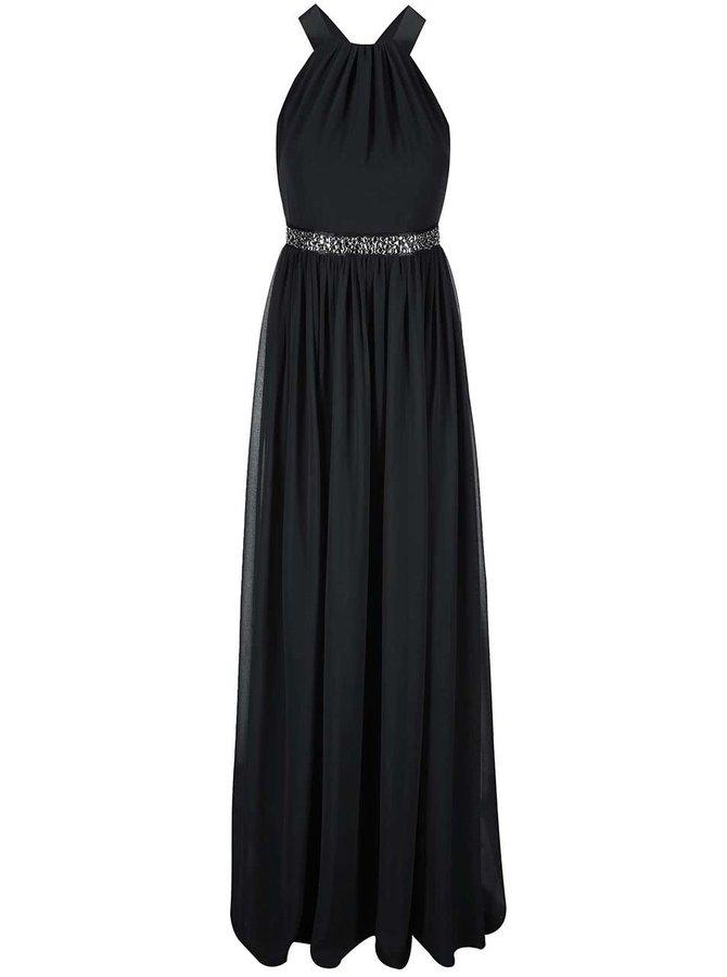 Černé šaty se zdobeným pasem Goddiva