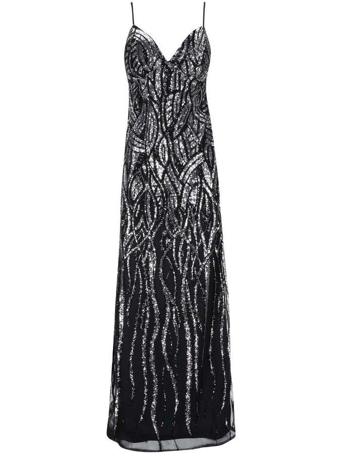 Dlhé šaty v čierno-striebornej farbe Goddiva