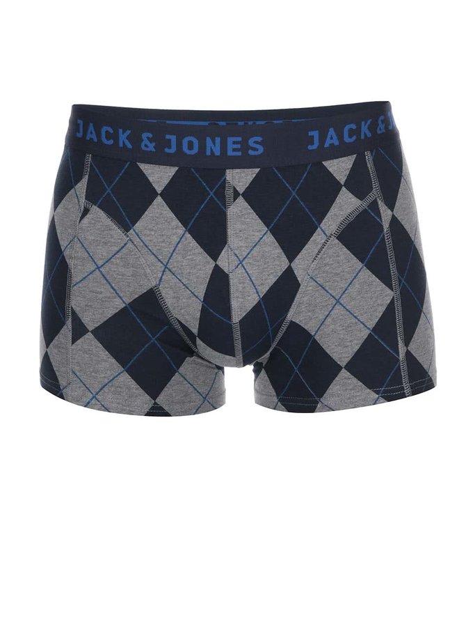 Modro-šedé vzorované boxerky Jack & Jones Check