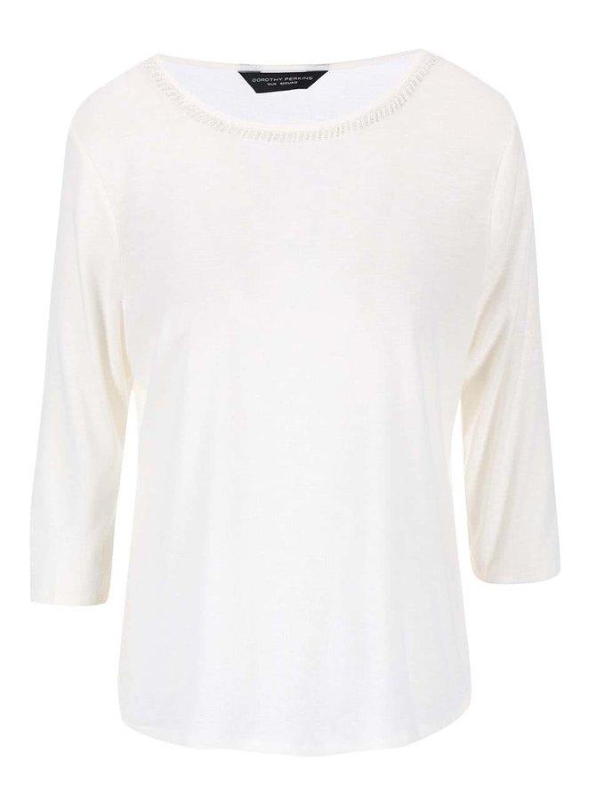 Krémové tričko so zdobením okolo krku Dorothy Perkins