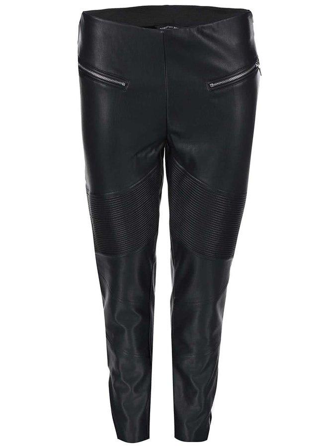 Čierne koženkové nohavice so zipsami Dorothy Perkins