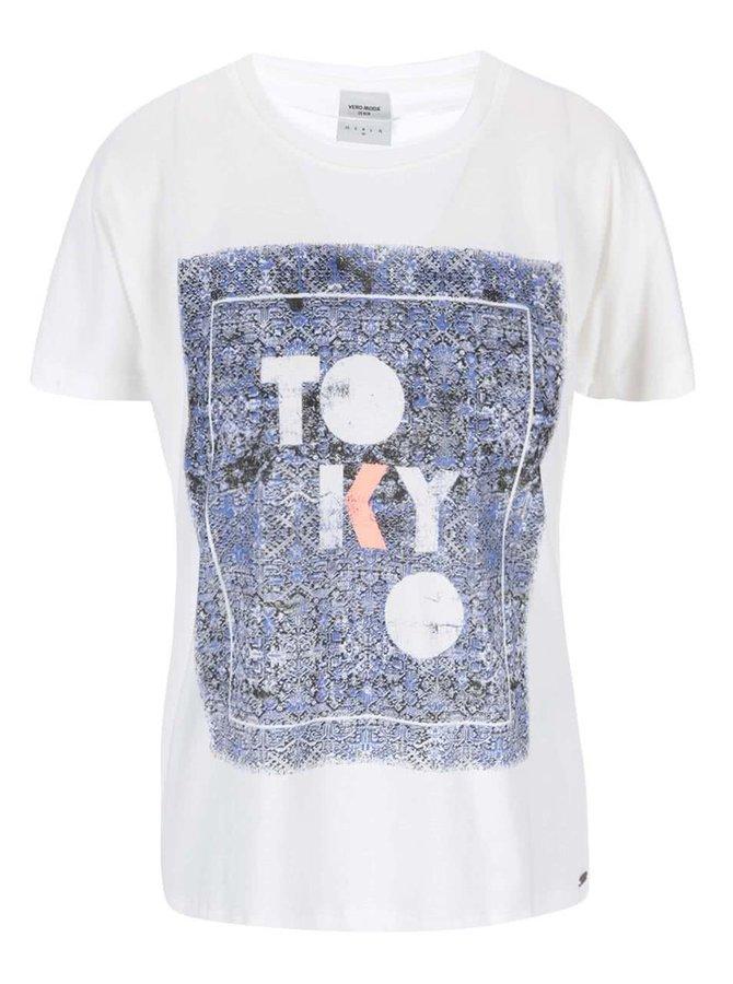 Biele tričko s potlačou Vero Moda Bella Japanese