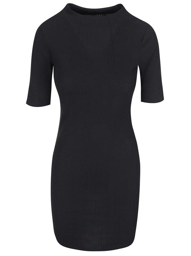 Rochie neagră cu mâneci trei sferturi VILA Fielis