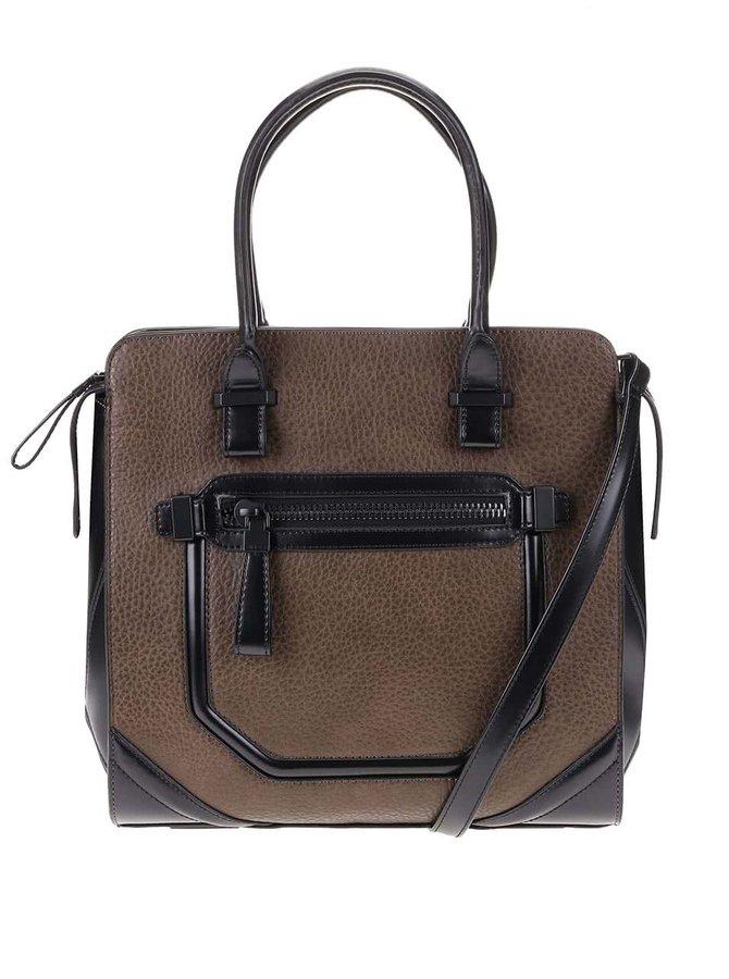 Černo-hnědá hranatá kabelka s ozdobnou kapsou ALDO Pontinia